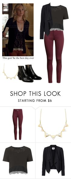 """Caroline Forbes outfit with a black jacket - tvd / the vampire diaries"" by shadyannon ❤ liked on Polyvore featuring H&M, Charlotte Russe, Topshop, Vero Moda, AZI and MAC Cosmetics"