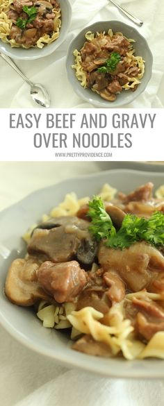 Easy beef and gravy over noodles is the PERFECT hearty weeknight meal when you are on a budget! The crock pot tenderizes the cheaper cuts of meat and by the time its done it is fall apart tender! One of our favorite family meals!