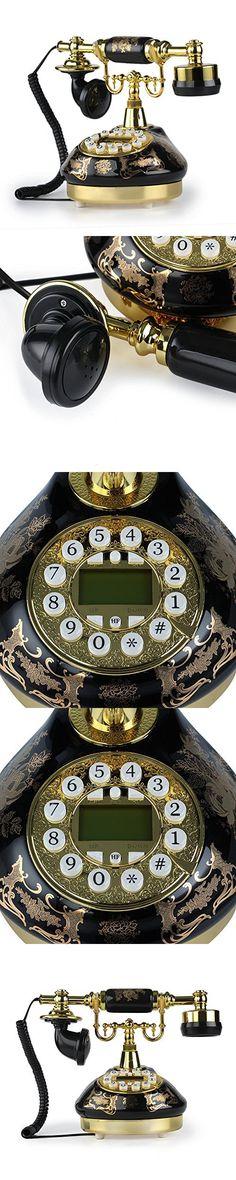 LNC Black Ceramic LNC Retro Vintage Antique Style Push Button Dial Desk Telephone Phone Home Living Room Decor