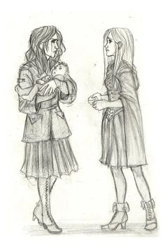 Black Sisters by ~Catching-Smoke on deviantART -- Andromeda Tonks and Narcissa Malfoy after the Battle of Hogwarts. Fanart Harry Potter, Harry Potter Fandom, Bellatrix, Slytherin, Hogwarts, Character Inspiration, Character Design, Teddy Lupin, Burdge