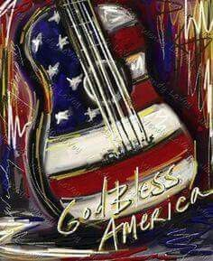 Red, White, and Blue Guitar Painting Flag Art, Watercolor Art, Art Painting, Painting Inspiration, Painting, Guitar Painting, Canvas Art, Guitar Art, Flag Painting