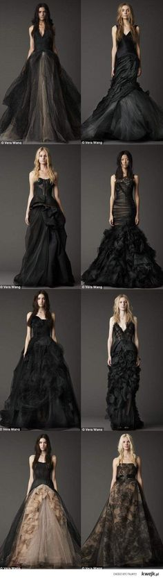 I really wanted a black wedding dress but due to my parents couldnt do it. Look at how beautiful these Vera Wang bridal gowns are. Call me crazy but i think they are GORGEOUS! - I agree :))