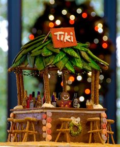 Polynesian gingerbread house.
