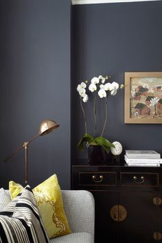 contemporary living room - dark walls and pops of color Living Room Designs, Living Room Decor, Dining Room, London Living Room, Room London, Dark Living Rooms, Dark Rooms, Copper And Grey Living Room, Deco Design