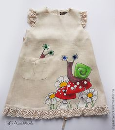 Linen dress with hand painting for girl Dress Painting, Fabric Painting, Sewing For Kids, Baby Sewing, Kids Frocks, Painted Clothes, Recycled Fashion, Little Girl Dresses, Kids Wear