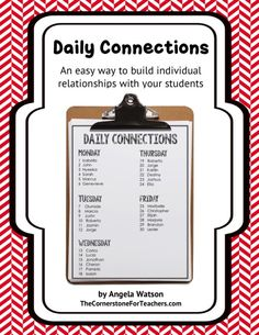 FREE! Daily Connections: an easy way to build individual relationships with your students