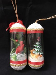 Vintage Folk Art Christmas Tube Ornaments Cardinal Snow Deer Collectibles | Collectibles, Holiday & Seasonal, Christmas: Modern (1946-90) | eBay!