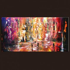 """"""" Pink Sunset """"   Urban Cityscape Unique Style GICLEE PRINT ON STRETCHED CANVAS LARGE CONTEMPORARY CITY RAIN BROWN RAINY STREET ABSTRACT MODERN ART 45""""X 23""""  BY MILEN"""