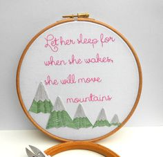 Let her sleep Hand embroidery hoop wall art by RedWorkStitches