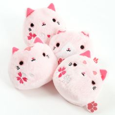 """Capturing the sweet rotundness of a delicious dango, the kitties of the Neko-dango series have a hard-to-deny squishiness that'll make you want to hug them every time you see them! At approximately 3"""" by 2.8"""" by 2.4"""", each of these plushies are based on sakura, meaning cherry blossom, thus the beautiful cherry blossoms appearing on them. Four versions are available, including Sakura, Tora Sakura, ... #tokyootakumode #plushie #Cats"""