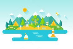 Beach, Mountains, Outdoors by Vectorbox on Creative Market