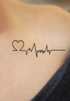 Unique heartbeat shoulder tattoo ideas for women - minimalist simple heart arm tat - www. Small Tattoos For Guys, Great Tattoos, Word Tattoos, Trendy Tattoos, Unique Tattoos, New Tattoos, Tattoos For Women, 3 Tattoo, Tribal Tattoos