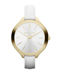 #FallingInLoveWith... MICHAEL Michael Kors  Mid-Size White Leather Runway Watch $160