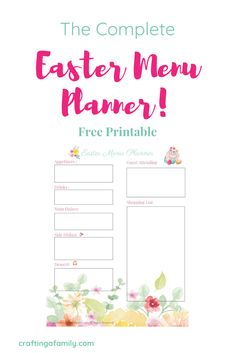 Free! The Complete Easter Menu Planner. You can reduce the stress and overwhelm of having family over for Easter dinner by setting up a menu, shopping list, and todo list. Take a few minutes to plan our your Easter Sunday plans now and save yourself confusion and frustration the days before Easter. #easterdinner #eastermenu #easterplanner #eastertodolist #shoppinglist #freeprintable #freeeasterprintable