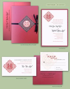 Chinese Double Happiness Invitation Suite
