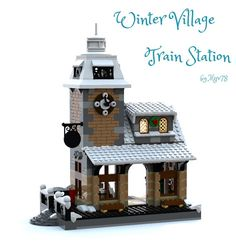 Teaser Bluerender image of my next Winter Village train station. I am still in need of some of the parts to complete the final brick-built version. Lego Winter Village, Lego Village, Lego Minifigure Display, Lego Display, Lego Christmas Sets, Lego Gingerbread House, Lego Minion, Casa Lego, Lego Hogwarts