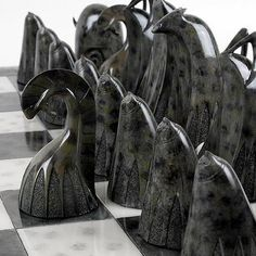 Amazing atomic era soapstone chess set.
