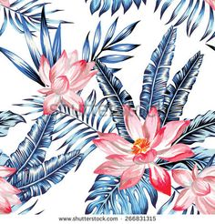 pink watercolor flamingo and blue palm leaves tropical seamless background - stock vector Flamingo Wallpaper, Print Wallpaper, Wallpaper Patterns, Hanging Bath Towels, Seamless Background, Pink Flamingos, Watercolor Flowers, Wall Murals, Beach Towel