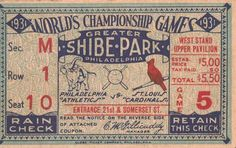 Buy or find prices on 1931 World Series Ticket Stub collectible ticket stub and complete your collection. Vintage Typography, Vintage Branding, World Series Tickets, Ticket Design, Field Of Dreams, Ticket Stubs, Baseball Tickets, Baseball Cards, Junk Journal