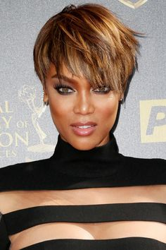 25 big short hair Ombre options - Hairstyle Fix Big Short Hair, Short Hair Cuts, Tyra Banks Short Hair, Medium Hair Styles, Curly Hair Styles, Short Shag Haircuts, Pixie Haircut Styles, Haircut Short, Great Hair