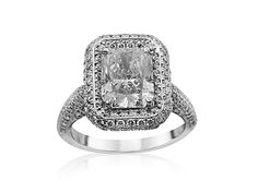 JB Star Platinum Halo Engagement Ring, Featuring a 2.01ct Radiant Diamond, G Color, SI1 Clarity, GIA Certified, Accented with 196 Round Diamonds =.97ctw Radiant Cut Engagement Rings, Halo Diamond Engagement Ring, Radiant Cut Diamond, Round Diamonds, Clarity, Silver Jewelry, Jewels, Star, Color