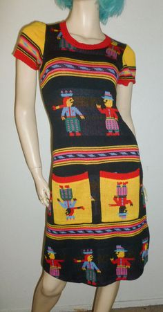 61cd91d103d VTG 70s ALLEY CAT by BETSEY JOHNSON Mexican Sweater Dress BLACK Cotton   RARE 7 8