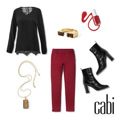 """The gorgeous """"Tempest Blouse"""" New Release with the Rhubarb colored Ava Trouser. jeanettemurphey.cabionline.com"""