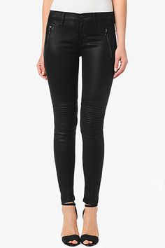 "We're all about Moto skinnies this fall. You'll love our Stark Moto Pant with a super slim silhouette, 30"" inseam that hits just above the ankle, and a mid-rise to sit a little higher on the waist for comfortable fit. It features zipper detail at the hips and ribbed knee texture in black, wax coated denim that's as comfortable as it is stylish."