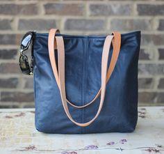 Leather Navy Blue & Tan Handbag Tote