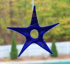 Cobalt Blue Glass Star Ornament Blue Star by conwaysstainedglass