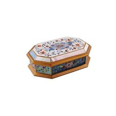 NOVICA Reverse Painted Glass Decorative Box with Floral Motifs ($49) ❤ liked on Polyvore featuring home, home decor, small item storage, decor accessories, decorative boxes, gold tone, jeweled box, painted boxes, novica home decor and glass hinged box