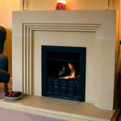 Art deco fire surround. I am always going to love the stepped-in effect.