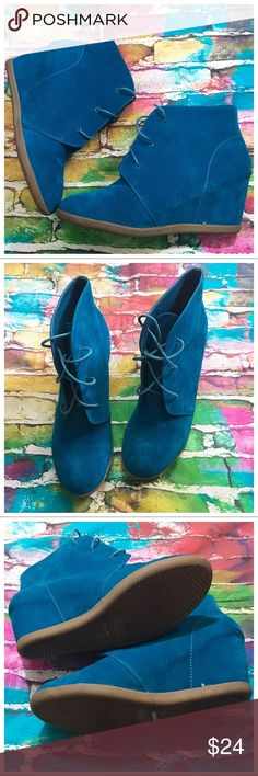 Dollhouse Turquoise Wedge Booties Funky bright gems, perfect pop of color to any outfit Dollhouse Shoes Ankle Boots & Booties