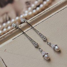 Art Deco Earrings Vintage Style Crystal Pearl Earrings