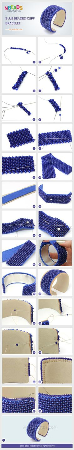 DIy Howto Summary: Todays creative craft is a beaded cuff. Are you ready to spend your time on DIY cuff bracelet? I bet you will be willing to go with us. For the blue beaded cuff is so charming that you cant move your eyes away from it. Seed Bead Jewelry, Beaded Jewelry, Handmade Jewelry, Silver Jewelry, Jewellery, Jewelry Patterns, Bracelet Patterns, Beading Patterns, Seed Bead Tutorials