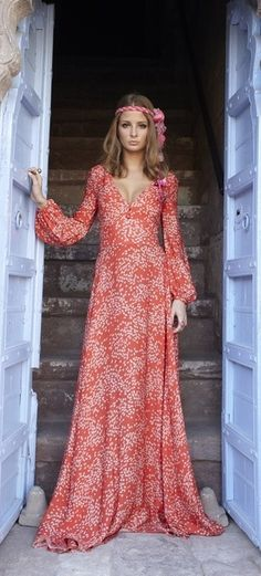 Red Maxi Dress.  women's fashion and street style.  boho glam.  if i could look like this in a dress one day i will be very happy!