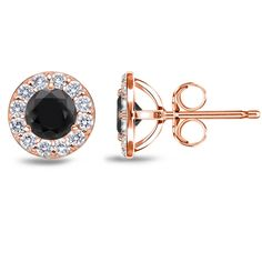 Accentuate your wardrobe with these black diamond earrings surrounded by a halo white round-cut diamonds. Crafted of 14-karat rose gold and secured with push-back clasps.