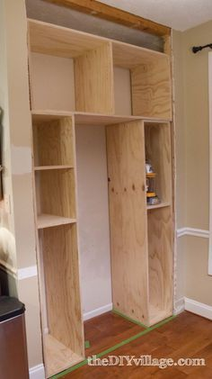 This DIY kitchen pan  This DIY kitchen pantry build gives extra storage for small kitchen appliances.