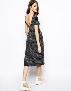 polka dotted midi dress with scoop back