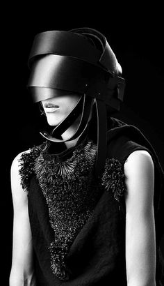 Designed by Barbara I' Gongini. Replace the headpiece with metal of the same design, some sort of more intentional helmet/visor.