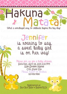 Lion King Inspired Girl Baby Shower Invitation By RockinRompers
