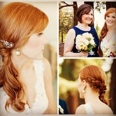 Wedding hair and makeup by Nancy Reynolds. Red haired bride.