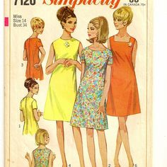 A Retro A-Line Dress Pattern with Neckline Variations, Vintage 1967