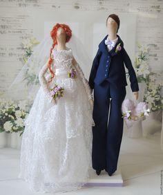 Купить Свадебная пара - белый, свадебные куклы, свадебные тильда куклы, свадьба, подарок на свадьбу ♡