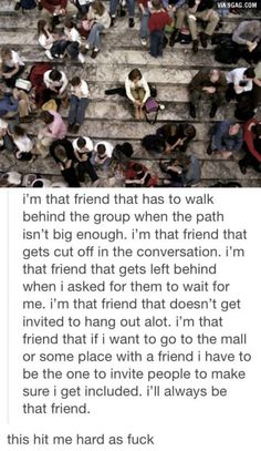 This is me. I don't get asked ever. Because I'm not important to a single acquaintance