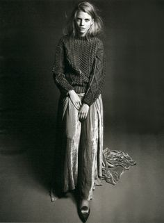 Nubby sweater + velvet skirt
