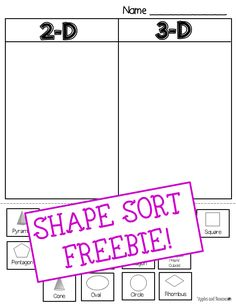 Freebie - Shape Sort - includes 15 different shapes to sort. Sorting cards can be cut/pasted or used for a variety of math activities. Maybe something for Printer Chat? Math Classroom, Kindergarten Math, Teaching Math, Teaching Ideas, Classroom Ideas, Preschool, Math Stations, Math Centers, Math Resources