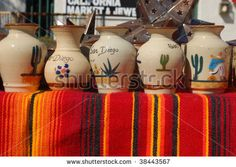 stock photo : Pottery for sale at an outdoor market; Old Town; San Diego, California
