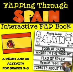 Third grade students are learning about countries around the World. This fun, engaging, and interactive activity asks students to create an EASY flip book as they learn about the country of Spain.We are making this flip book over the course of the time we learn about Spain.You can have your students make this flip book in any way you choose, but I would suggest printing pages 3-9, double stapling at the top of the flip book.