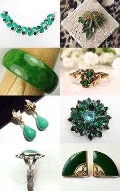 Gorgeous Greens------Jewel Bird Vintage VJT Shop Promo Week by Ali on Etsy--Pinned with TreasuryPin.com